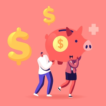 Mann und frau charaktere tragen riesiges sparschwein mit dollarzeichen und medizinischem kreuz. cartoon-illustration