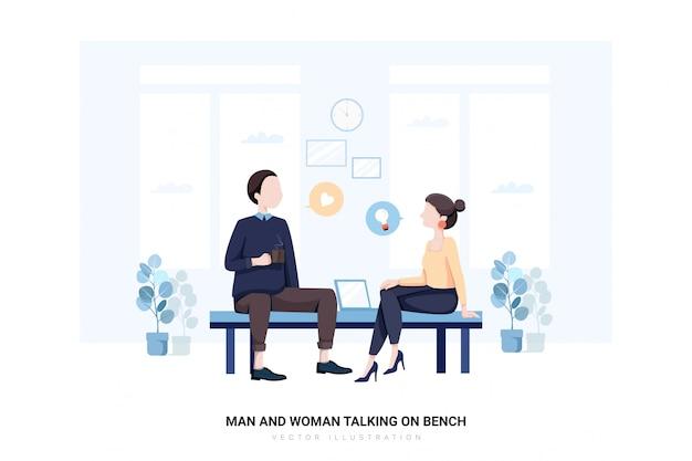 Mann und frau, die auf bank sprechen