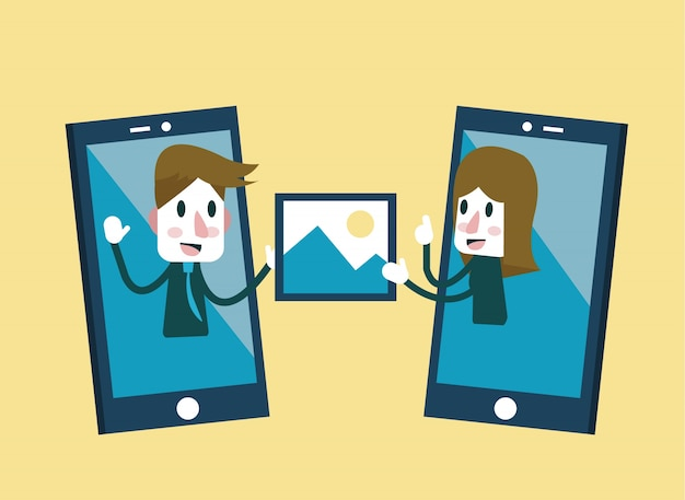 Mann und frau, die bild auf smartphone senden und teilen. flache charaktergestaltung. vektor-illustration