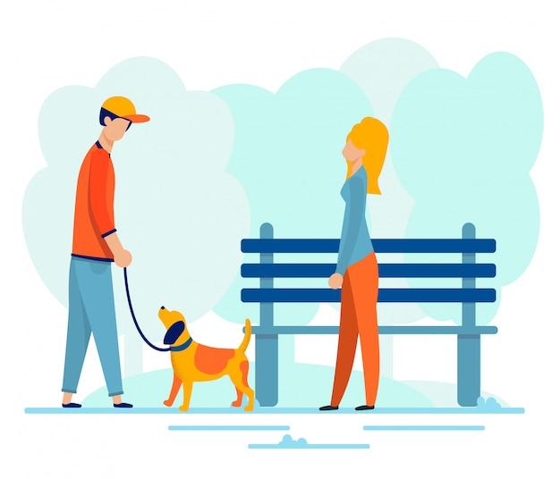 Mann und frau, die datum in der park-illustration haben