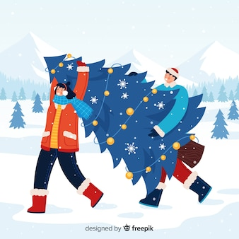 Mann und frau, die einen weihnachtsbaum tragen