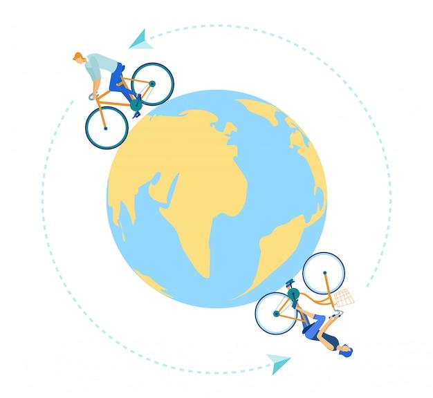 Mann und frau, die fahrräder um globus erde reiten.