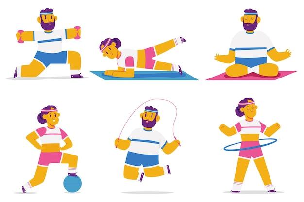 Mann und frau, die fitness- und yoga-übungskarikaturfiguren tun, lokalisiert.