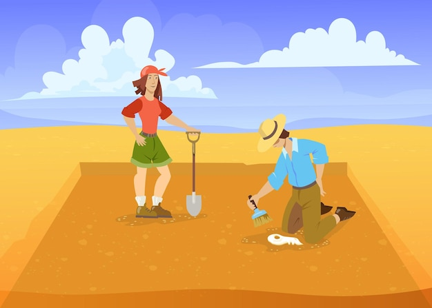 Mann und frau, die in der wüste ausgraben. cartoon-vektor-illustration