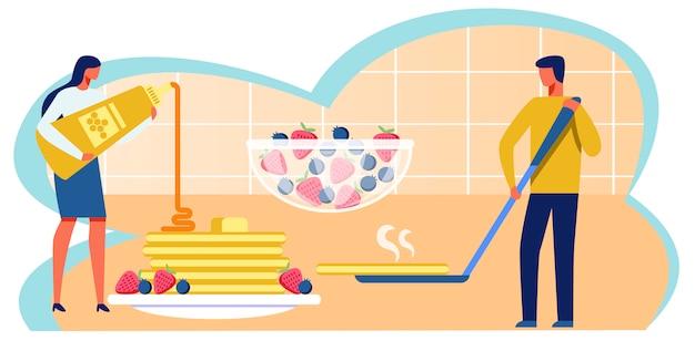 Mann und frau, die pfannkuchen-metapher-karikatur kochen