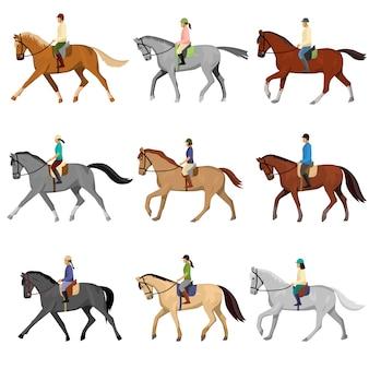 Mann und frau, die pferd gegen weißen hintergrund reiten