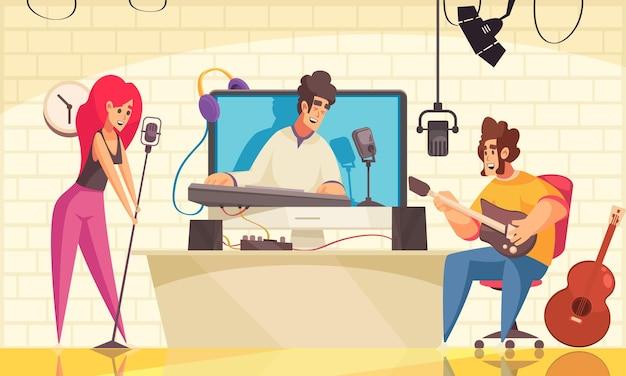 Mann und frau, die sich video-blogger ansehen, die musik spielen und cartoon-hintergrund singen