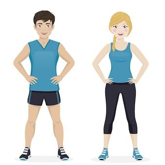 Mann und frau, die sport mit blauer sportkleidung spielen