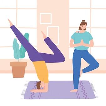 Mann und frau, die yoga praktizieren, unterschiedliche haltung, gesunder lebensstil, körperliche und geistige übungsillustration
