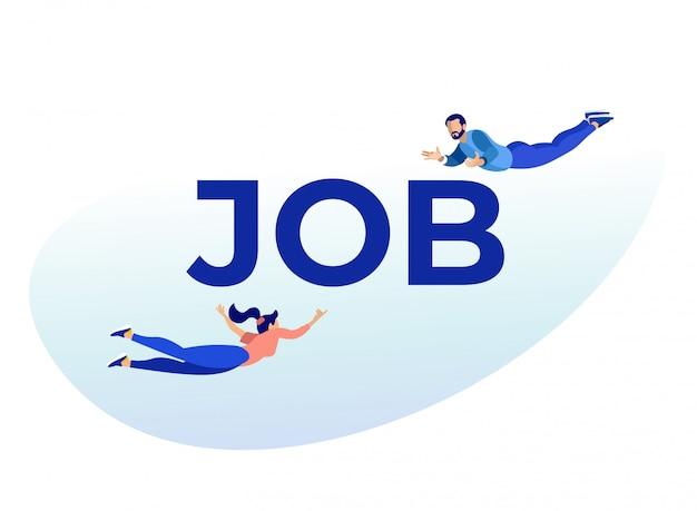 Mann und frau, die zu enormem wort job metaphor fliegen