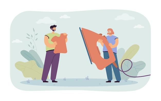 Mann und frau, die zusammen kleidung bügeln. flache abbildung