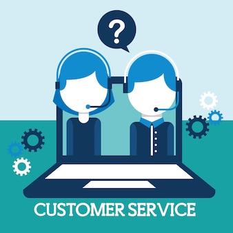Mann und frau dispatcher im laptop-kundendienst