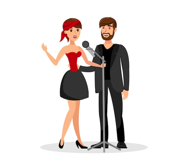 Mann und frau duett zusammen im mikrofon zu singen