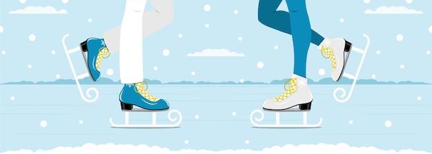 Mann und frau eislaufen zusammen. winter aktive outdoor-freizeit schlittschuhe. vektorillustration.
