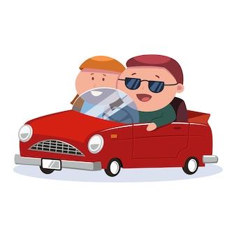 Mann und frau fahren auf einem roten auto. karikaturillustration lokalisiert auf weißem hintergrund.