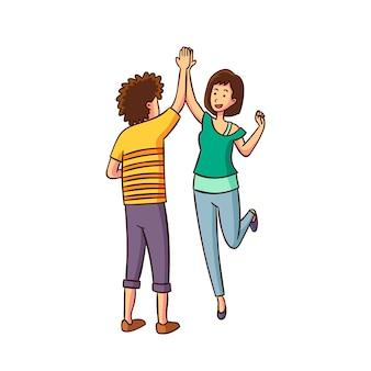 Mann und frau geben high five