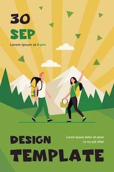 Mann und frau gehen zusammen zum picknick. natur, hobby. flat flyer vorlage