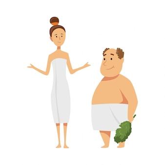 Mann und frau genießen saunaverfahren