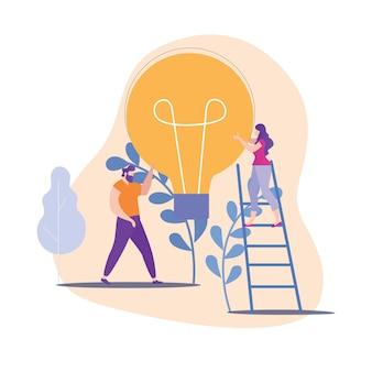 Mann und frau halten große gelbe lampe in der hand.