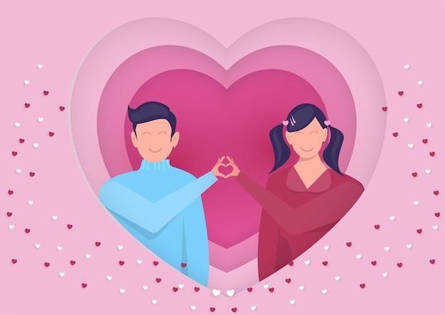 Mann und frau herz zeichen hände zusammen in großem herzen. valentinstag. vektor flache illustration.