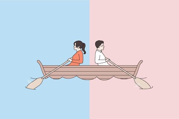 Mann und frau im boot rudern in verschiedene richtungen