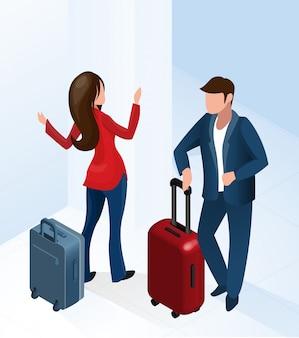 Mann und frau in der hotelhalle mit gepäckkoffer