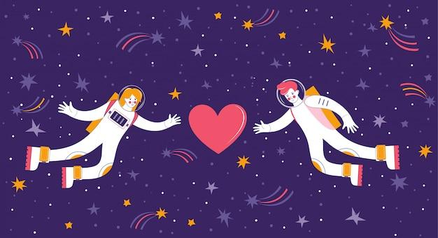 Mann und frau in der liebe fliegen zusammen im sternenhimmel. liebespaar-kosmonauten fühlen sich zum herzen hingezogen. weltraum mit sternen, meteoriten und kometen. hand gezeichnete romantische illustration für valentinstag.