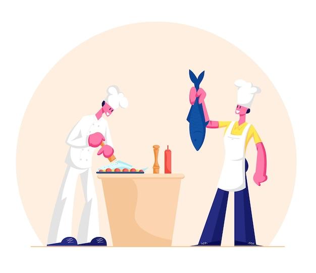 Mann und frau in kochschürzen und hauben, die fisch auf küche kochen. karikatur flache illustration