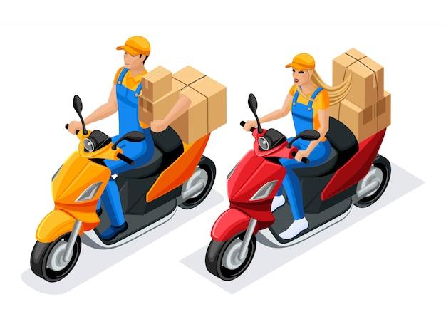 Mann und frau in uniform fahren auf rollern mit pappkartons, die arbeit des lieferservices. lieferkonzept. schneller lieferwagen. lieferant
