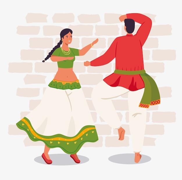 Mann und frau indianer mit kleidung traditionelle tanzende illustration design