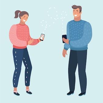 Mann und frau kommunizieren. chatten mit chatbot am telefon, online-konversation mit sms
