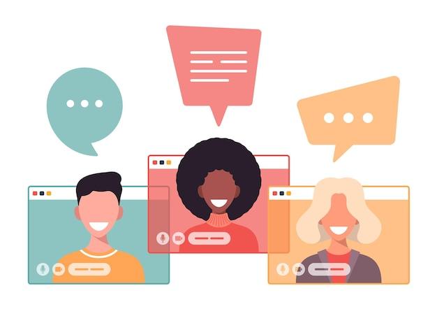 Mann und frau kommunizieren online über das internet unter verwendung einer videoanrufanwendung
