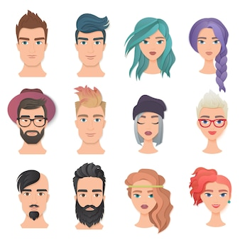 Mann und frau kunstporträt avatar logo set