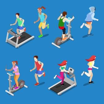 Mann und frau laufen auf laufband im fitnessstudio