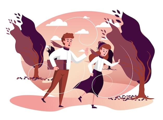 Mann und frau laufen bei stürmischem wetter im herbstpark isolierte szene
