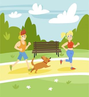Mann und frau laufen mit hund im park, sommerlandschaftsillustration