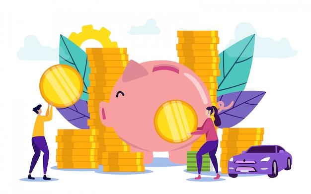 Mann und frau legen münzen in sparschwein