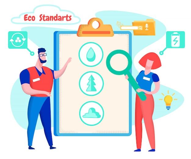Mann und frau lernen eco-standards-technologie