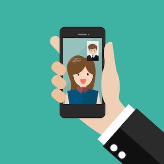 Mann und frau machen einen videoanruf im business-business-videoanruf-konzept