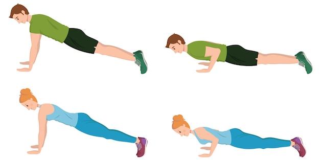 Mann und frau machen push-ups. männliche und weibliche figuren im cartoon-stil.