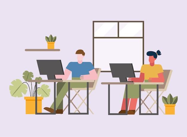 Mann und frau mit computer arbeiten am schreibtisch vom hauptentwurf des telearbeitsthemas vektorillustration