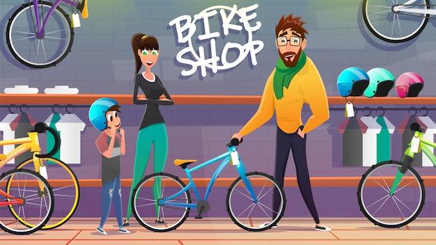 Mann und frau mit dem sohn, der fahrrad am shop wählt