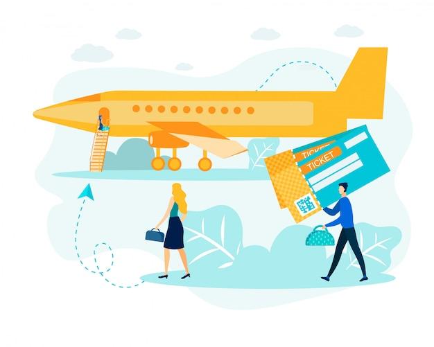 Mann und frau mit e-ticket an der flughafen-metapher