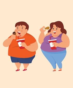 Mann und frau mit fettleibigem problem