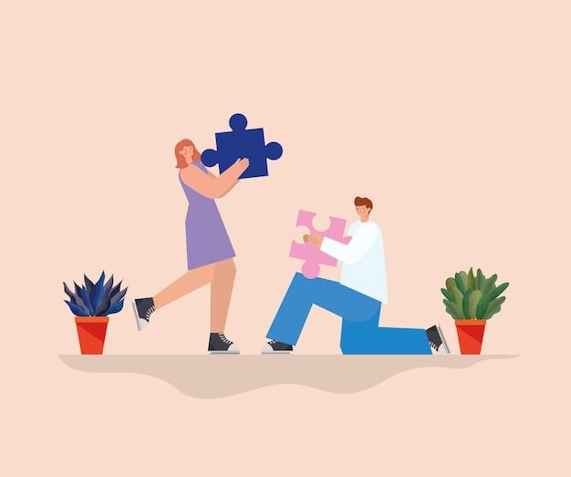 Mann und frau mit je einem puzzleteil und pflanzen auf einer orangefarbenen hintergrundillustration