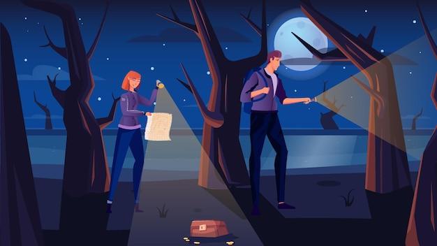 Mann und frau mit karte und fackeln, die nachts im wald eine schatzsuche machen