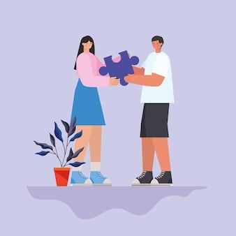 Mann und frau mit lila puzzleteil und pflanzenillustration