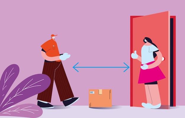 Mann und frau mit masken, die sicheres paket liefern und empfangen