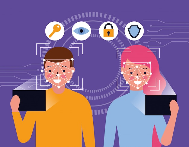 Mann und frau mit mobilem gesichts-scan
