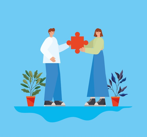 Mann und frau mit puzzleteil und pflanzen